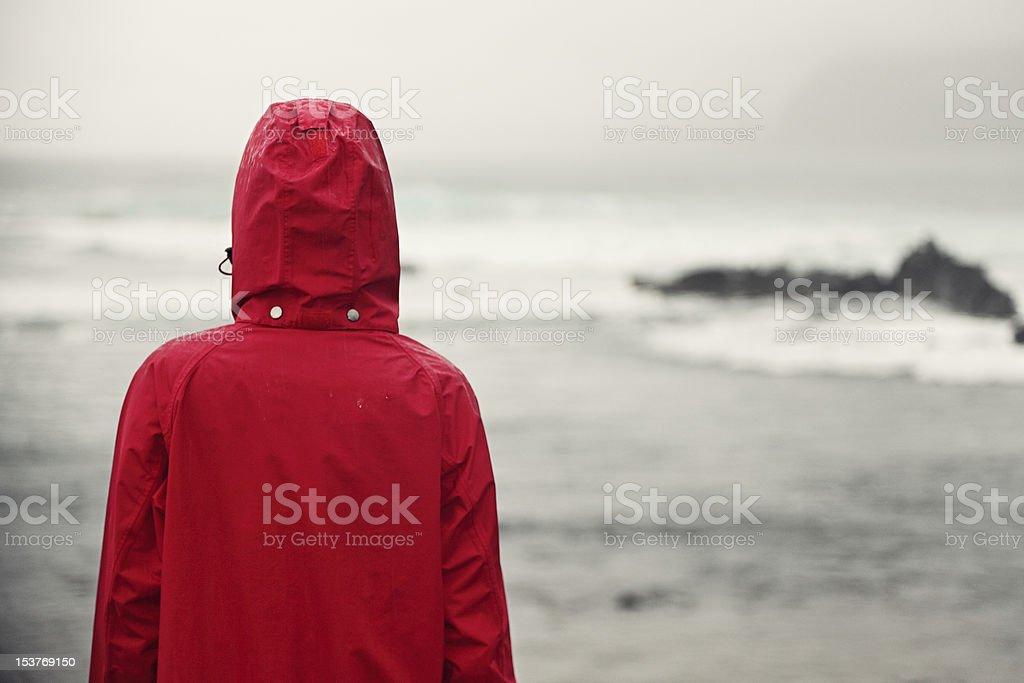 Fall woman in rain looking at ocean stock photo