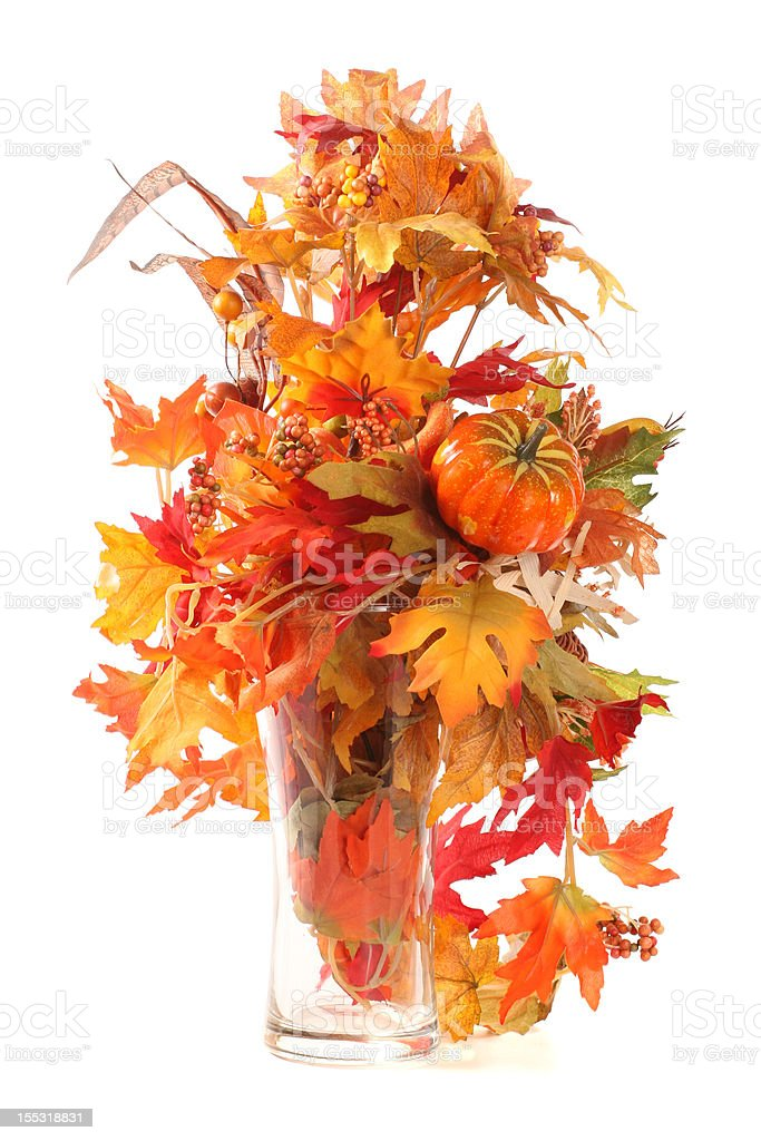 Fall: Yellow Red Leaves and Pumpkin Isolated royalty-free stock photo