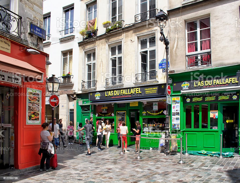 Fallafel places in Jewish quarter of Le Marais district stock photo