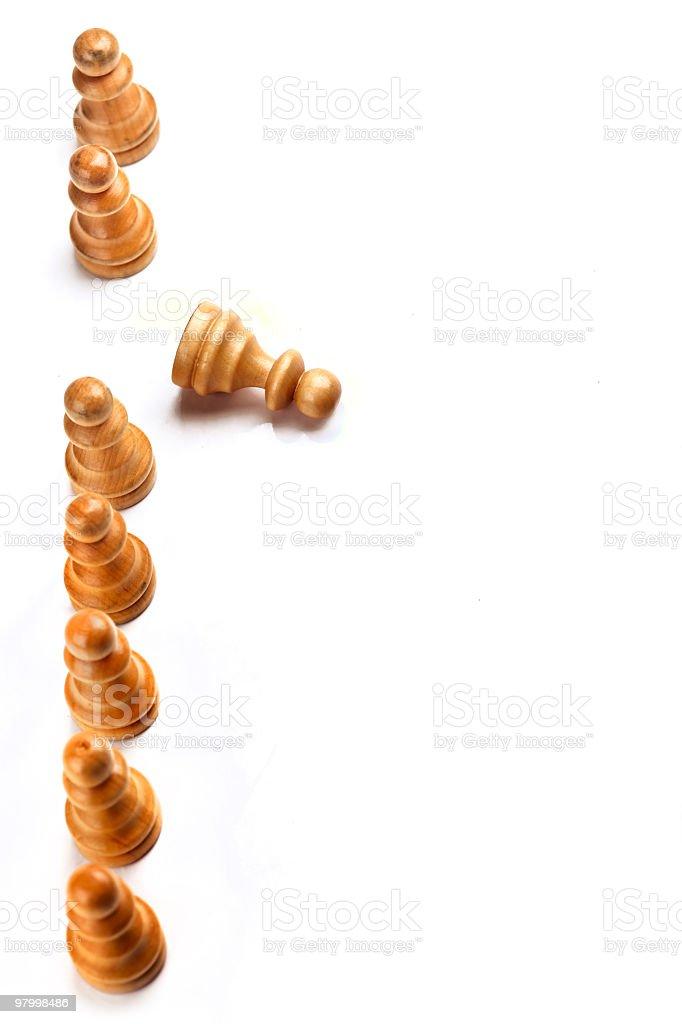 Fallen chess piece royalty free stockfoto