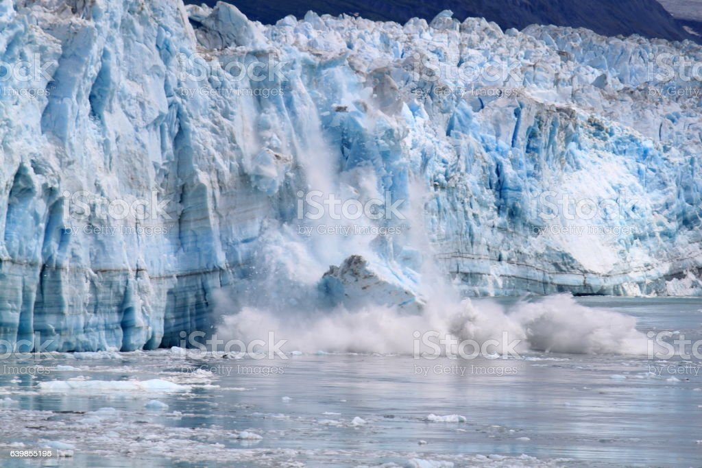 Fallen - crushing ice at the Hubbard Glacier stock photo