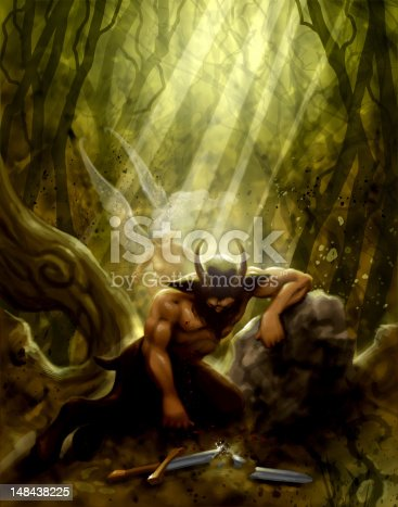 Digital Painting by Joe J. Calkins of a wounded faun AKA satyr and a fairy.