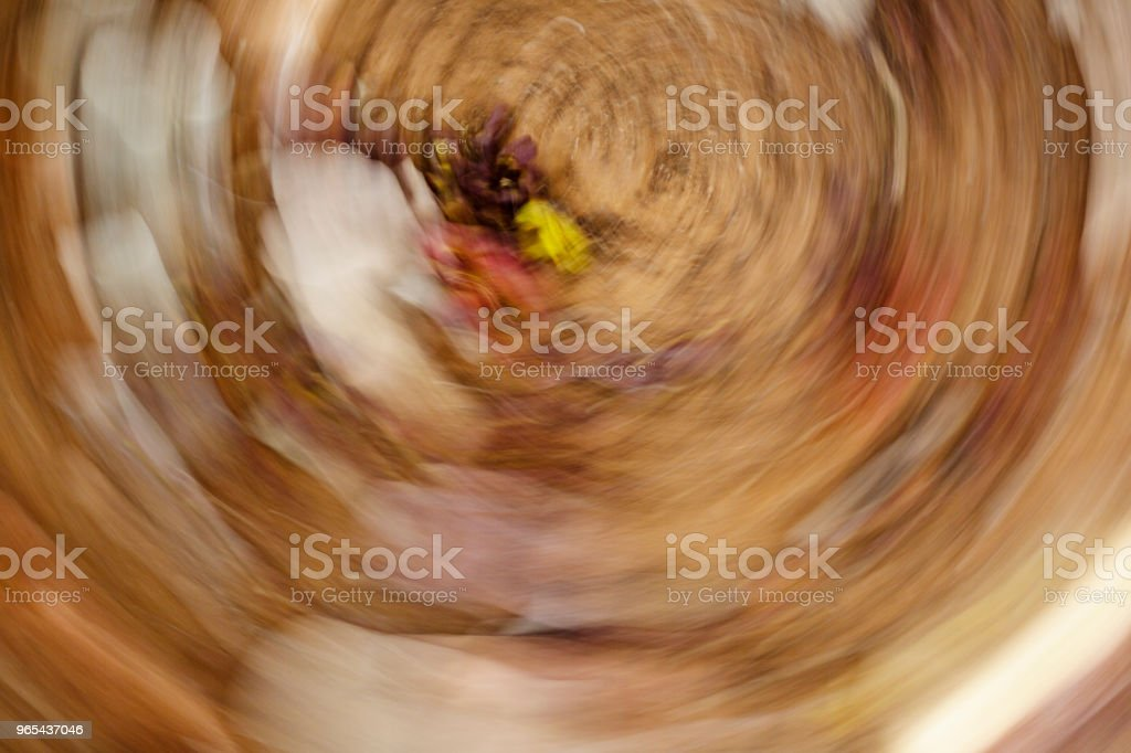 Fallen leaves lying on the ground. Abstract motion blur effect royalty-free stock photo