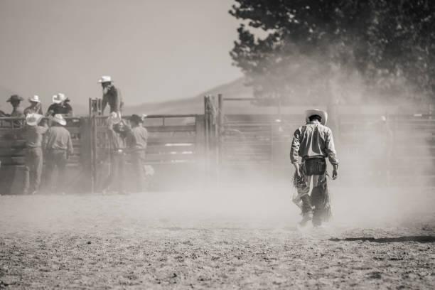 Fallen Rodeo Rider stock photo