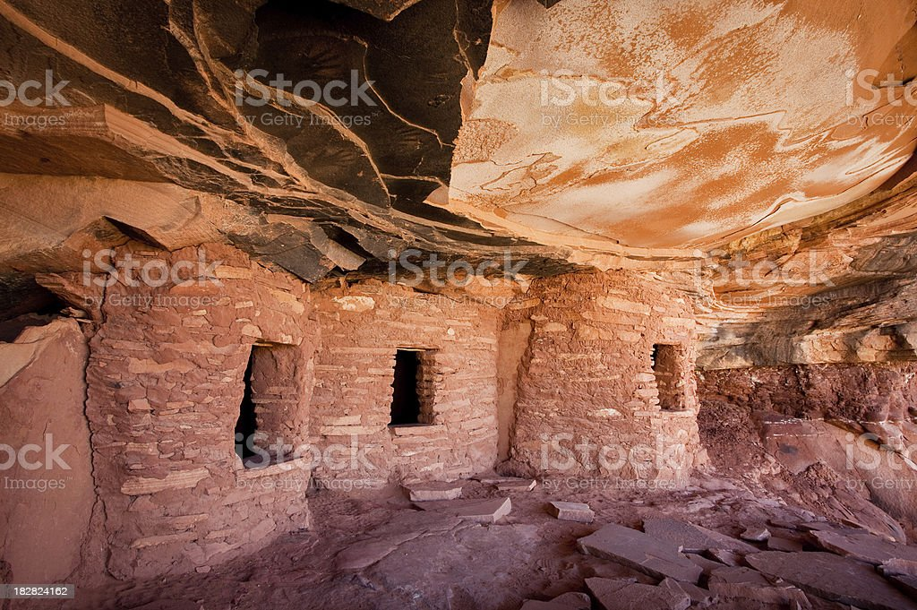 Fallen Roof Ruin and Handprint Pictographs stock photo