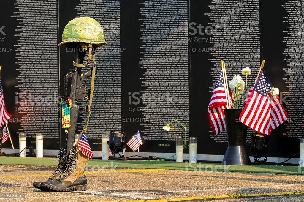 Fallen soldier tribute stock photo