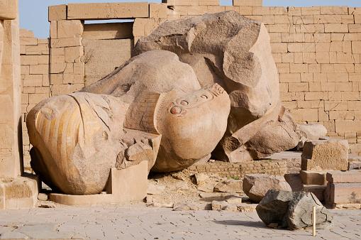 Fallen statue at the Ramesseum in Luxor, Egypt