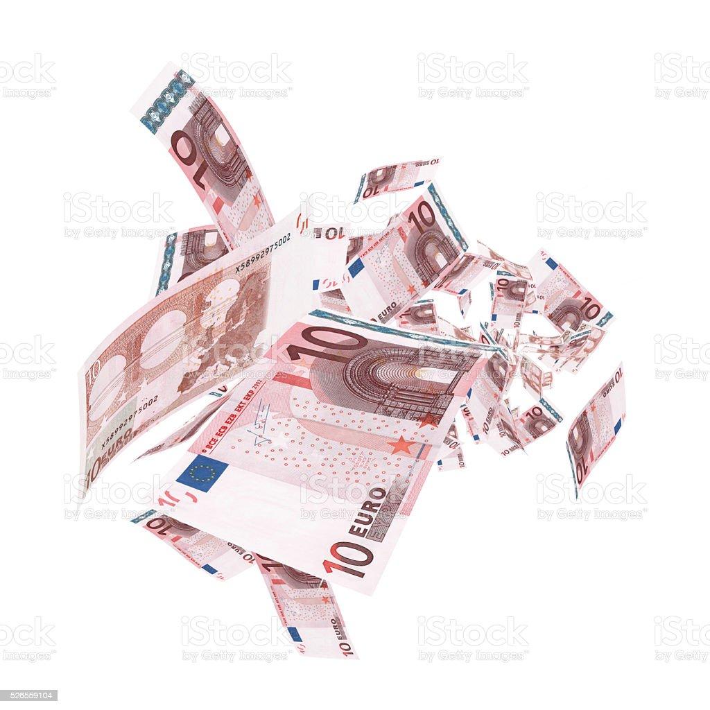 Fallende 10 Euro-Banknoten-Clipping Pfad – Foto