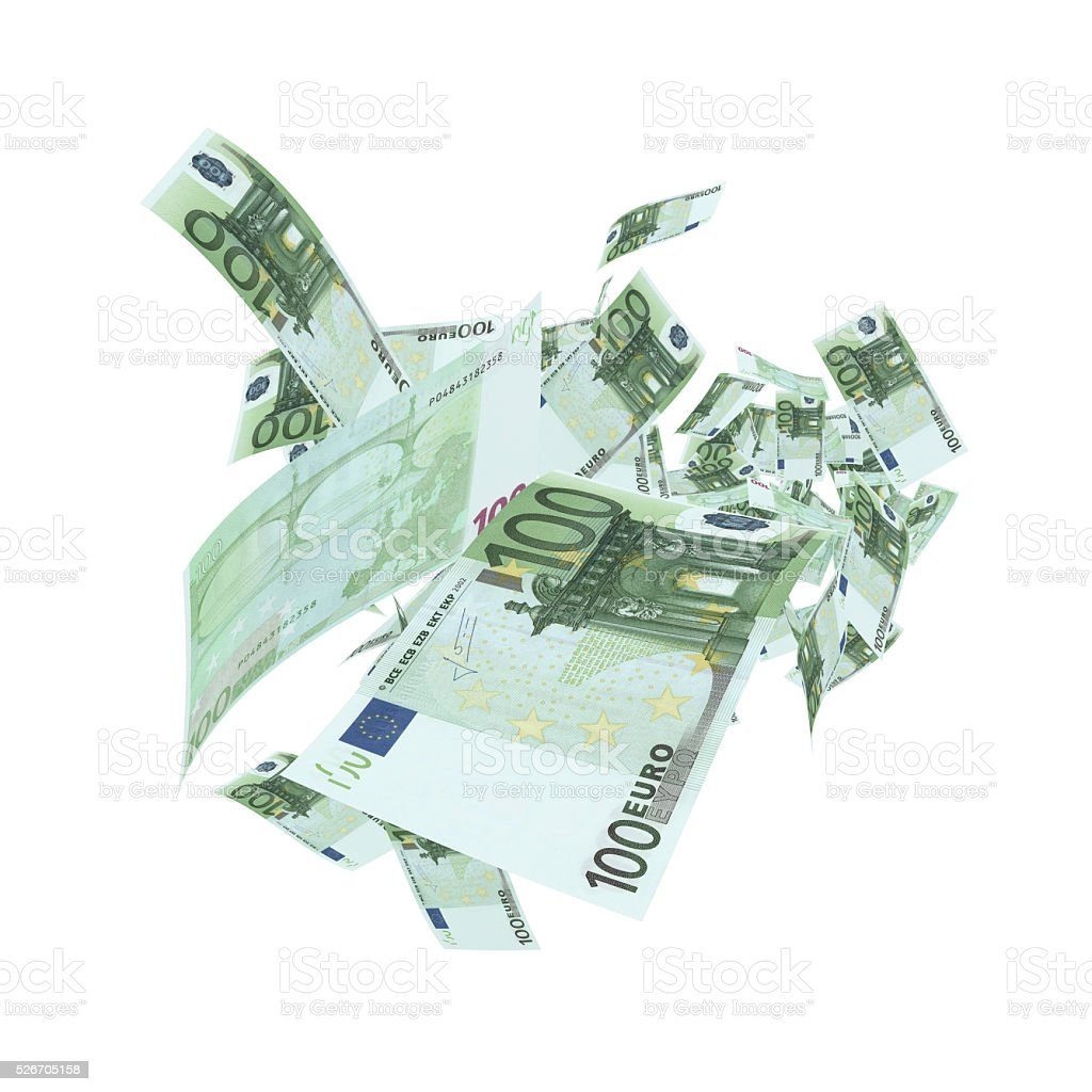 Falling 100 Euro Banknotes - Clipping Path stock photo