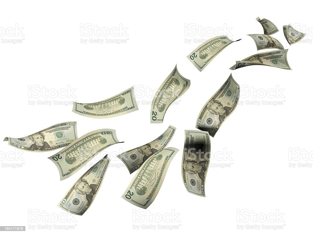 Falling 20 Dollar Bills royalty-free stock photo