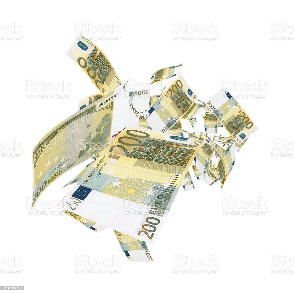 Caen 200 billetes de Euro-Clipping Ruta de acceso (Borde de corte) - foto de stock