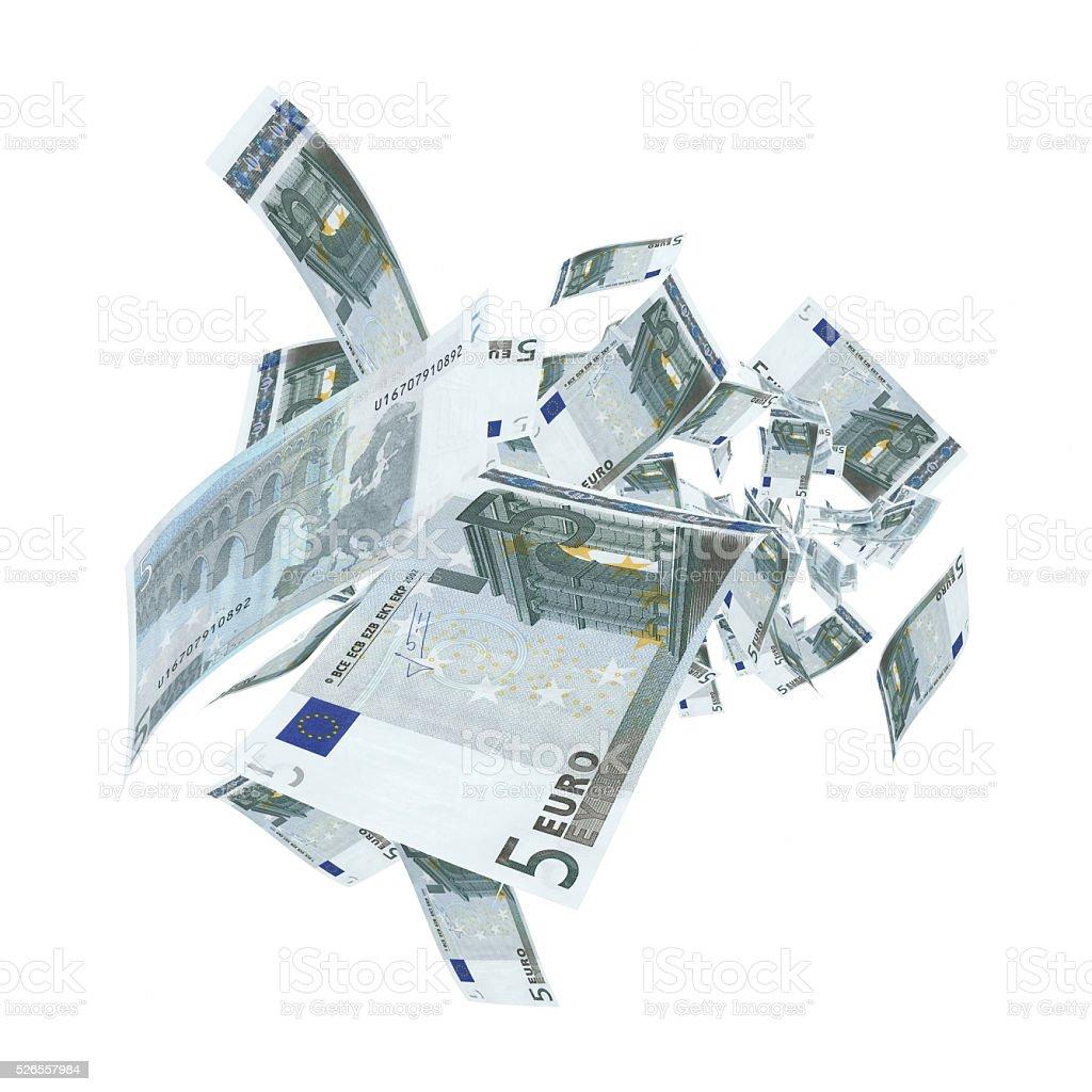 Fallen 5 Euro-Banknoten-Clipping Path – Foto
