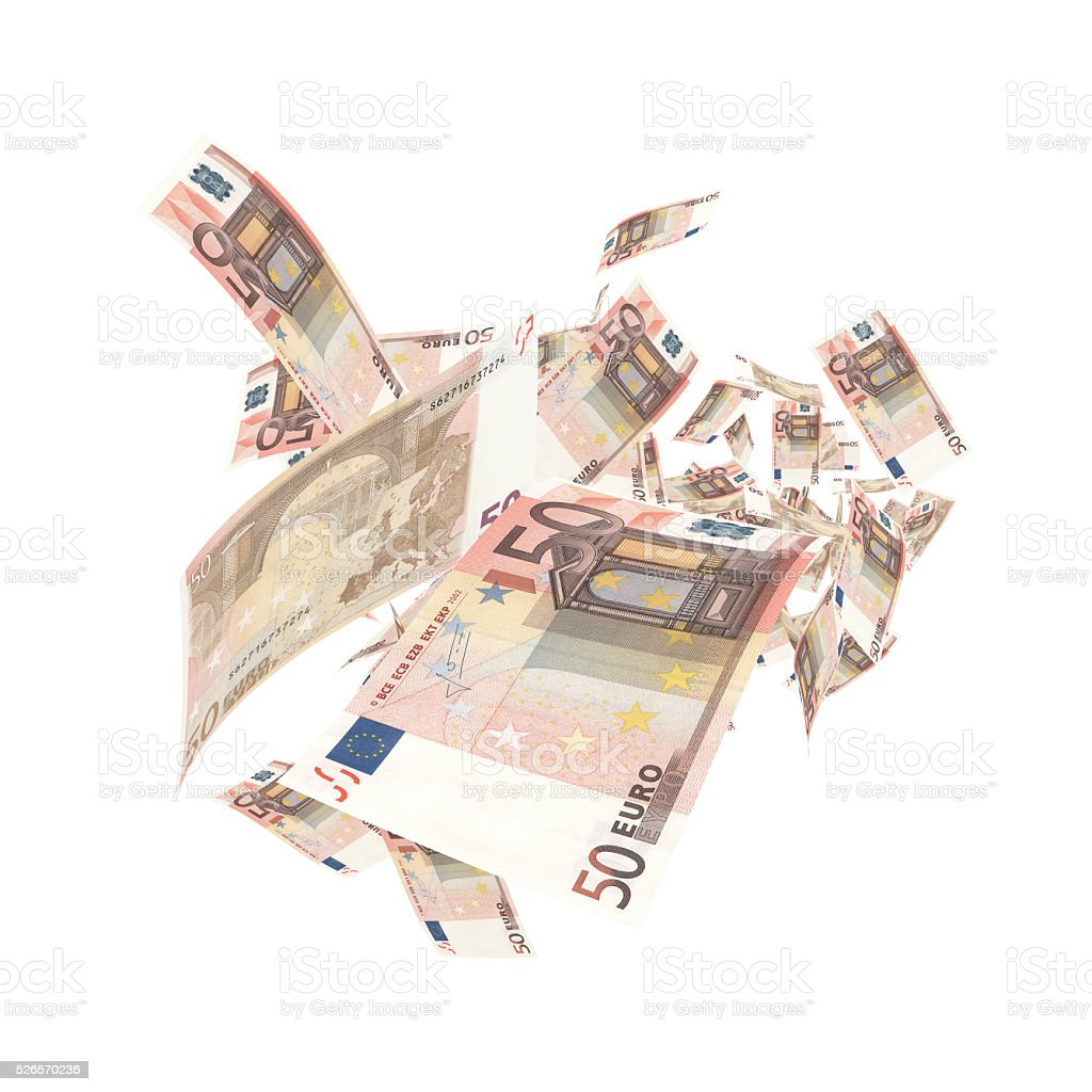 Falling 50 Euro Banknotes - Clipping Path stock photo