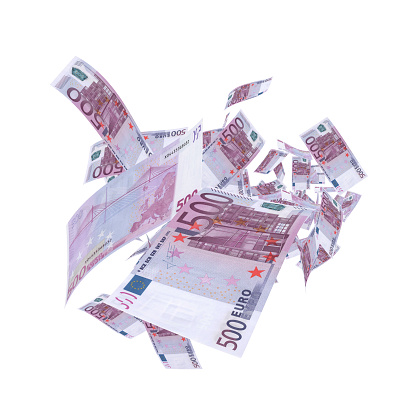 Falling 500 Euro Banknotes - Clipping Path Isolated White Background