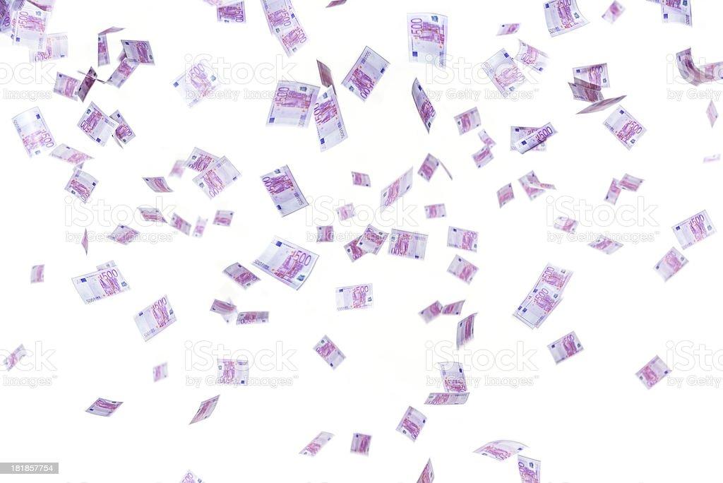 Falling 500 Euro money, isolated on white background royalty-free stock photo