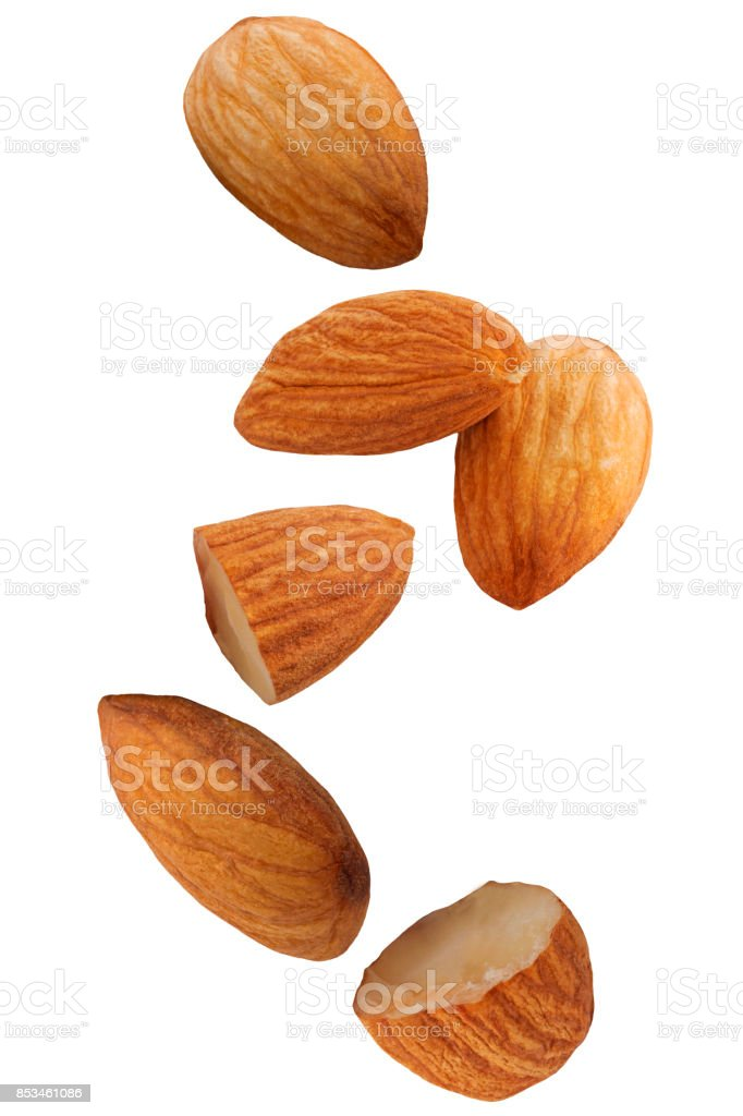 Falling almond nut isolated on white background - foto stock