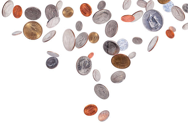 Falling American Coins stock photo