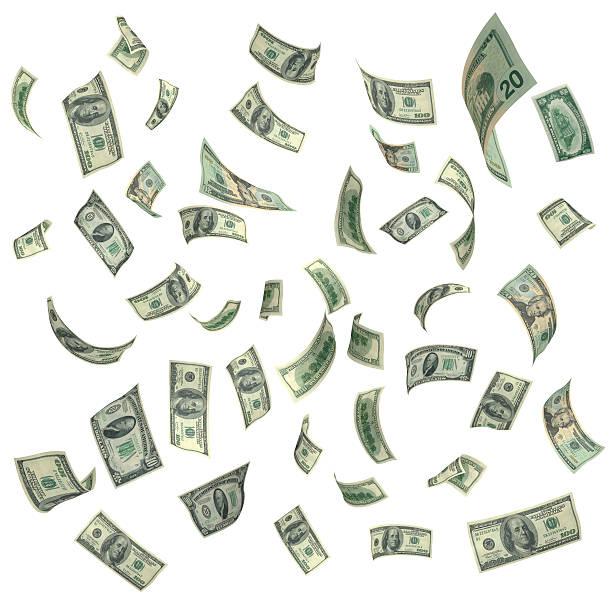 fallenden amerikanische währung auf weißem hintergrund - sterntaler stock-fotos und bilder