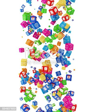 istock Falling APP Cubes isolated on white background 534937833