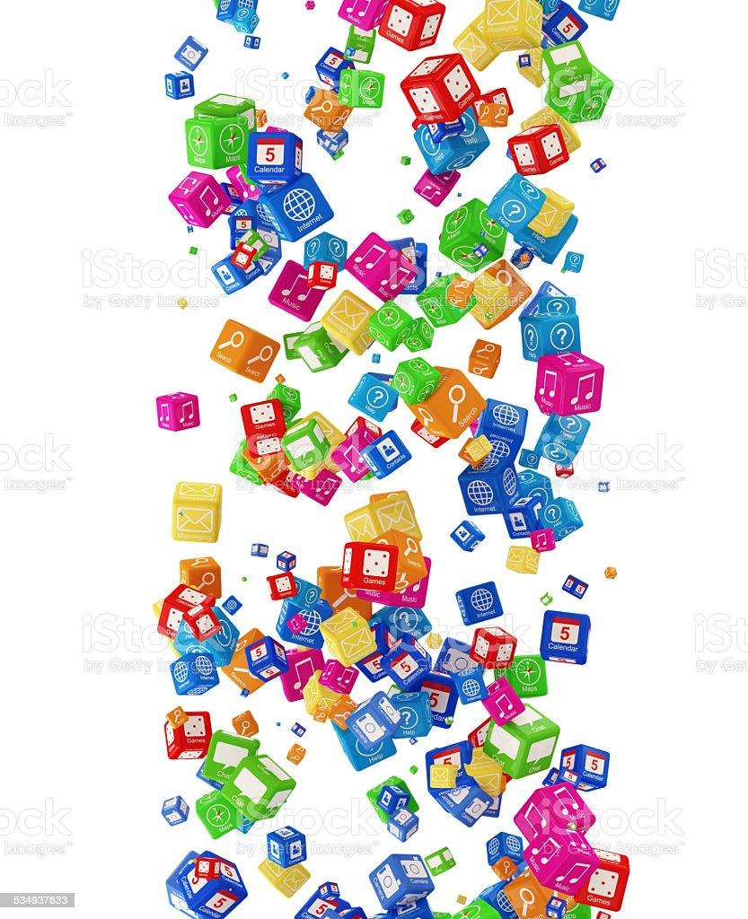 Falling APP Cubes isolated on white background stock photo