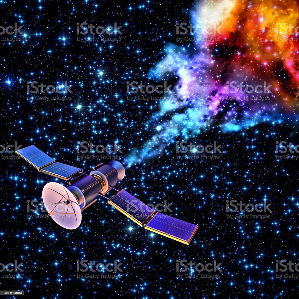 falling artificial satellite has burned up stock photo