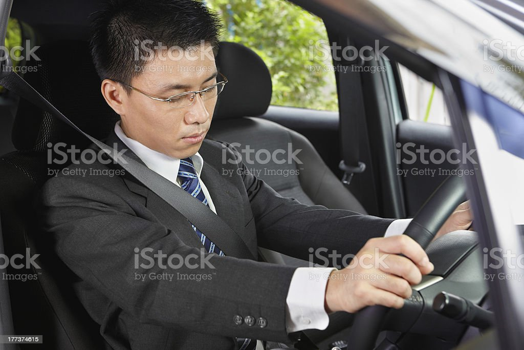 Falling asleep in car royalty-free stock photo