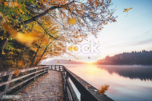 Idyllic autumn scene with wooden path by the lake. Leaves falling from the trees.