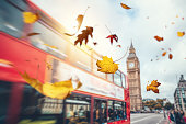 Colorful autumn leaves falling from the sky. Double-decker bus is passing Big Ben in the background.