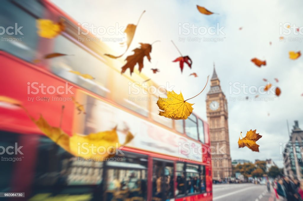Falling Autumn Leaves In London stock photo