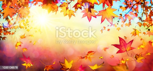istock Falling Autumn Red Leaves With Sunlight - Fall Background 1035136578