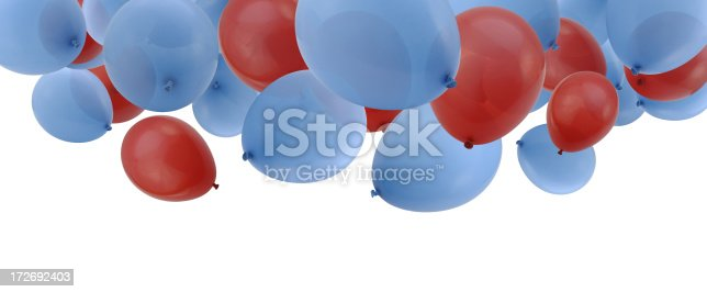 Falling Red and Blue Balloons against a White Background.