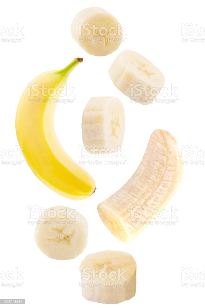 falling banana isolated on white - foto stock