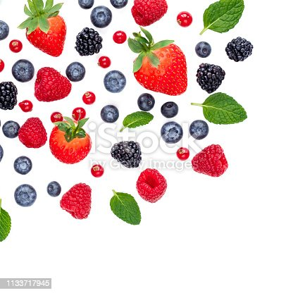 827935944 istock photo Falling Berries isolated on white background, top view. Strawberry, Raspberry, Cranberry, Blackberry, Blueberry and Mint leaf, flat lay 1133717945
