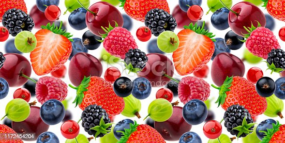 827935944 istock photo Falling berries seamless pattern isolated on white background 1172454204