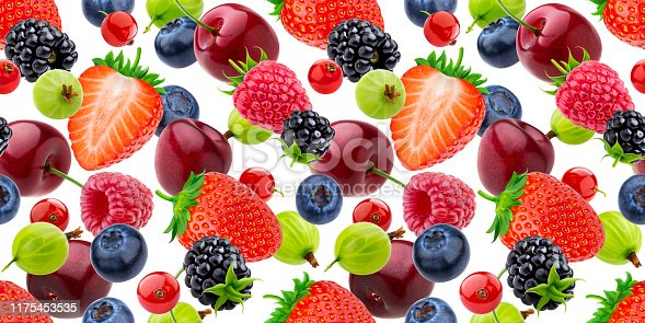 827935944 istock photo Falling berries seamless pattern isolated on white background 1175453535
