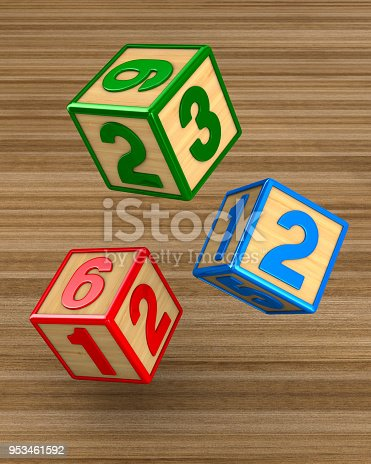 istock falling blocks with numbers. 3D illustration 953461592