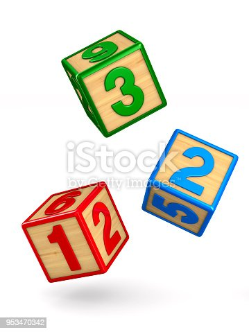 istock falling blocks with numbers on white background. Isolated 3D illustration 953470342