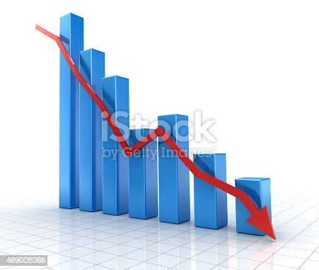842160218istockphoto Falling blue chart with down red arrow 469008066