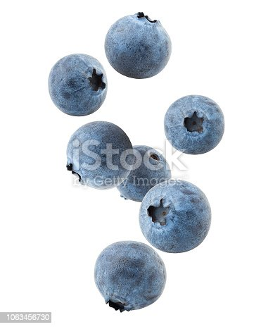 Falling blueberry, clipping path, isolated on white background, full depth of field, high quality
