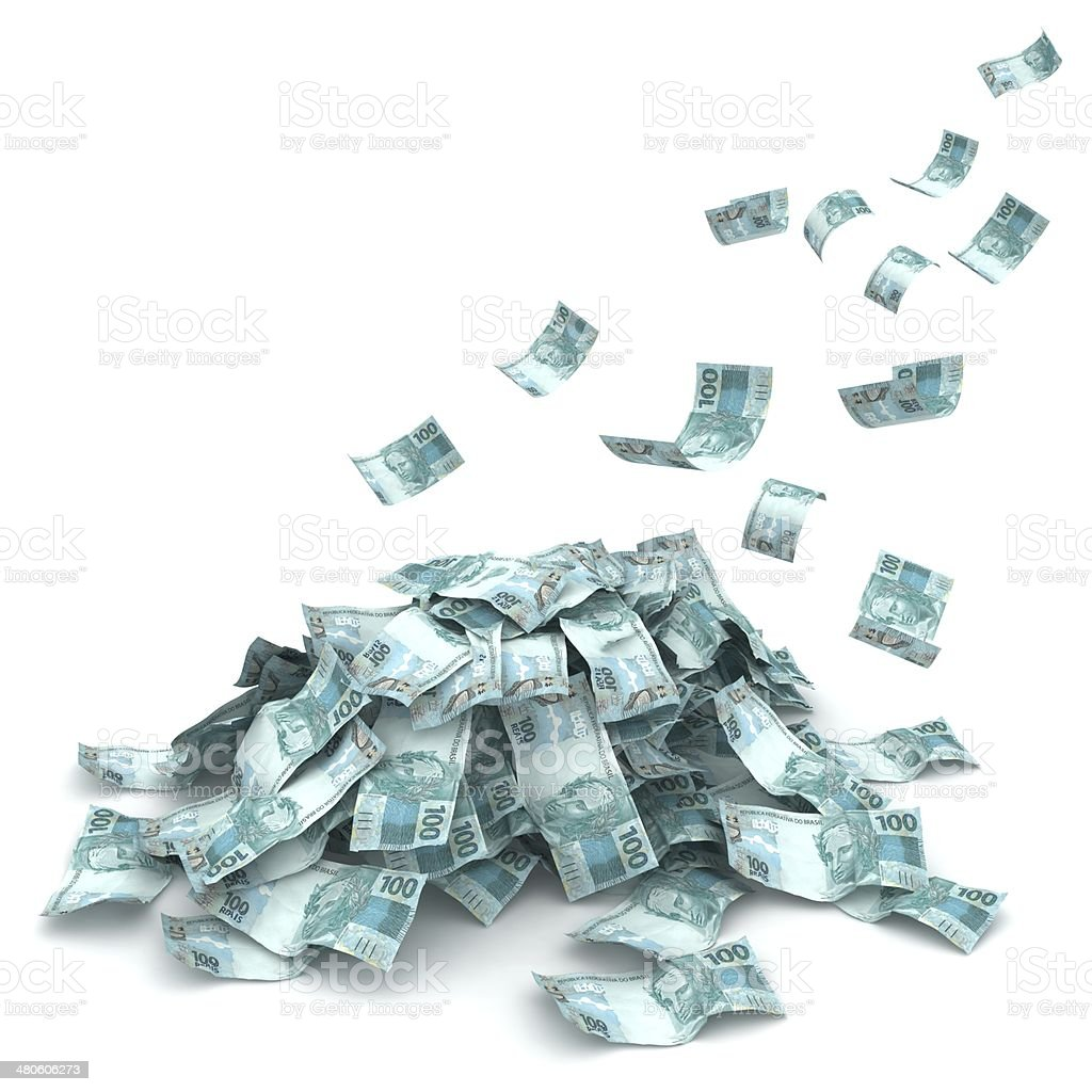 Falling Brazilian Money stock photo