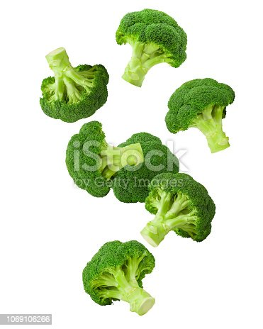 Falling broccoli, isolated on white background, clipping path, full depth of field