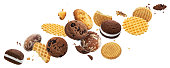 istock Falling cakes, cookies, crackers, waffles isolated on white background 1187337286