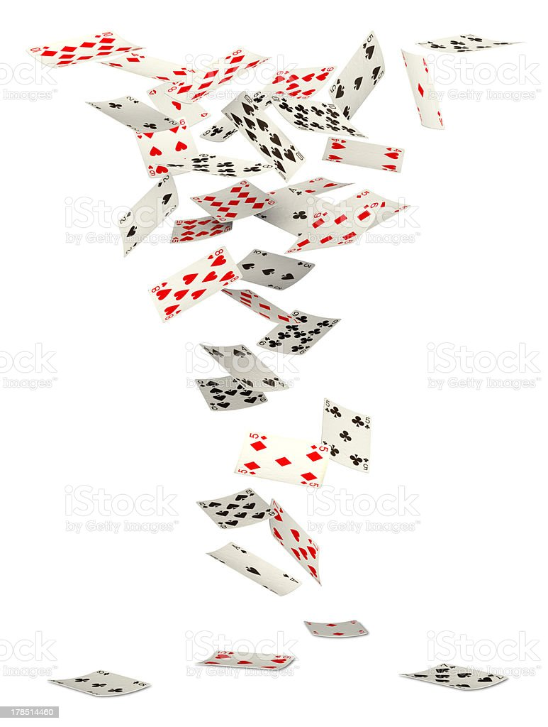 Falling cards stock photo