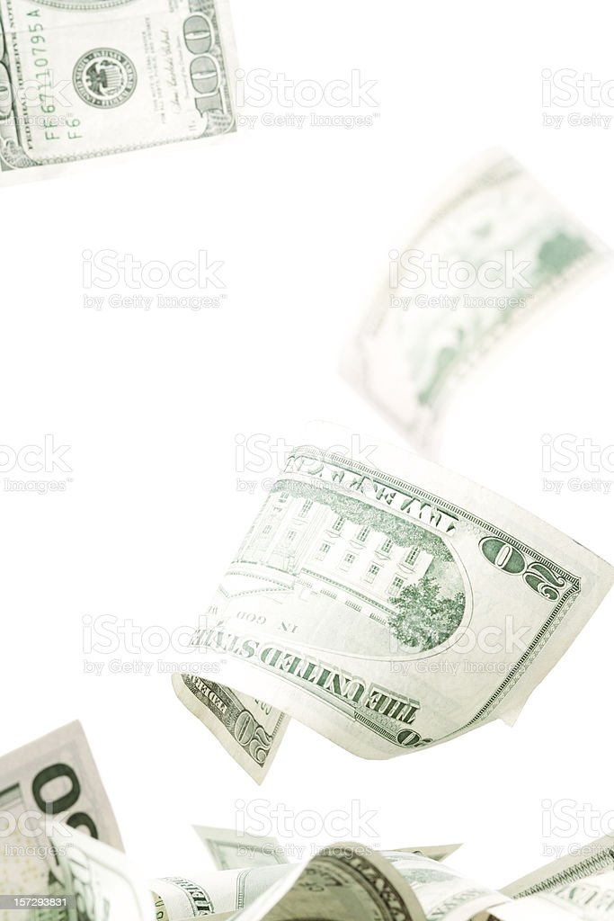 Falling cash stock photo