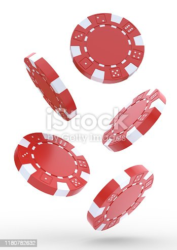 Falling casino chips on a white background. Red chips are flying. Concept of win or gambling. Poker games 3D rendering illustration