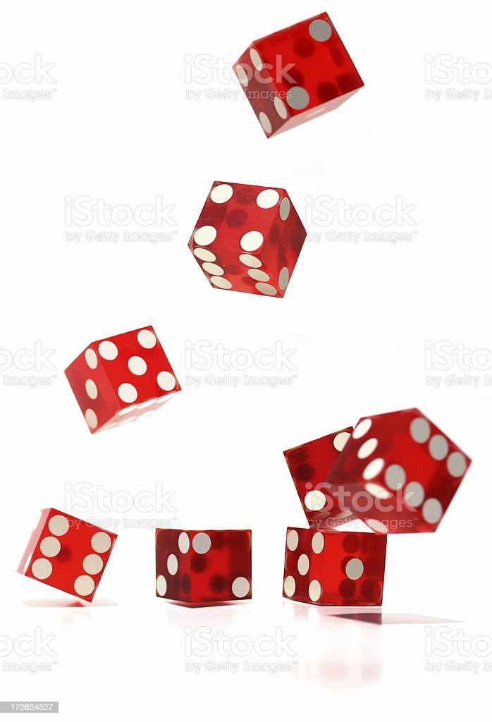 Falling Casino Dice - High Key stock photo