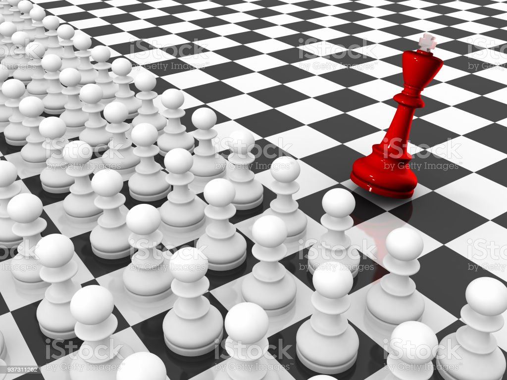 Falling Chess King and Pawns Army on Chessboard stock photo
