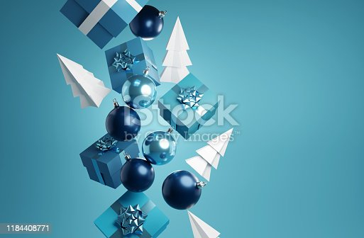 Falling christmas elements including presents, baubles and xmas trees. Abstract festive 3D illustration