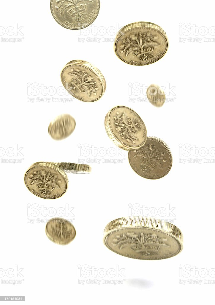 falling coins stock photo