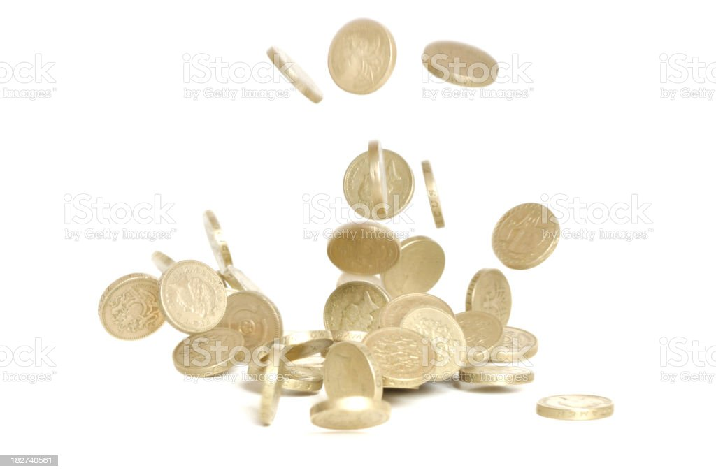 Falling coins royalty-free stock photo